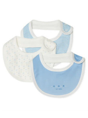 Petit Bateau Baby Girls' Rib Knit Bibs - 3-Piece Set