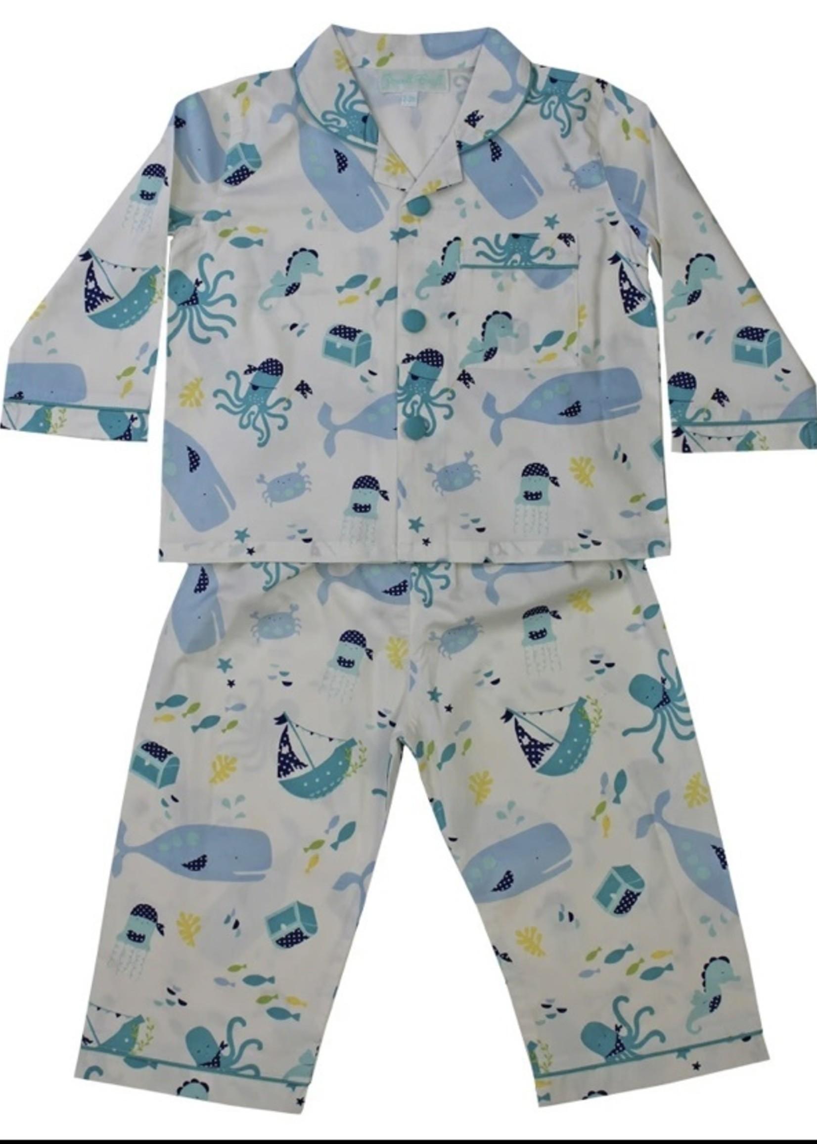Powell Craft Powell Craft-ss21 Jules' Boys Deep Sea Print Traditional Pyjamas