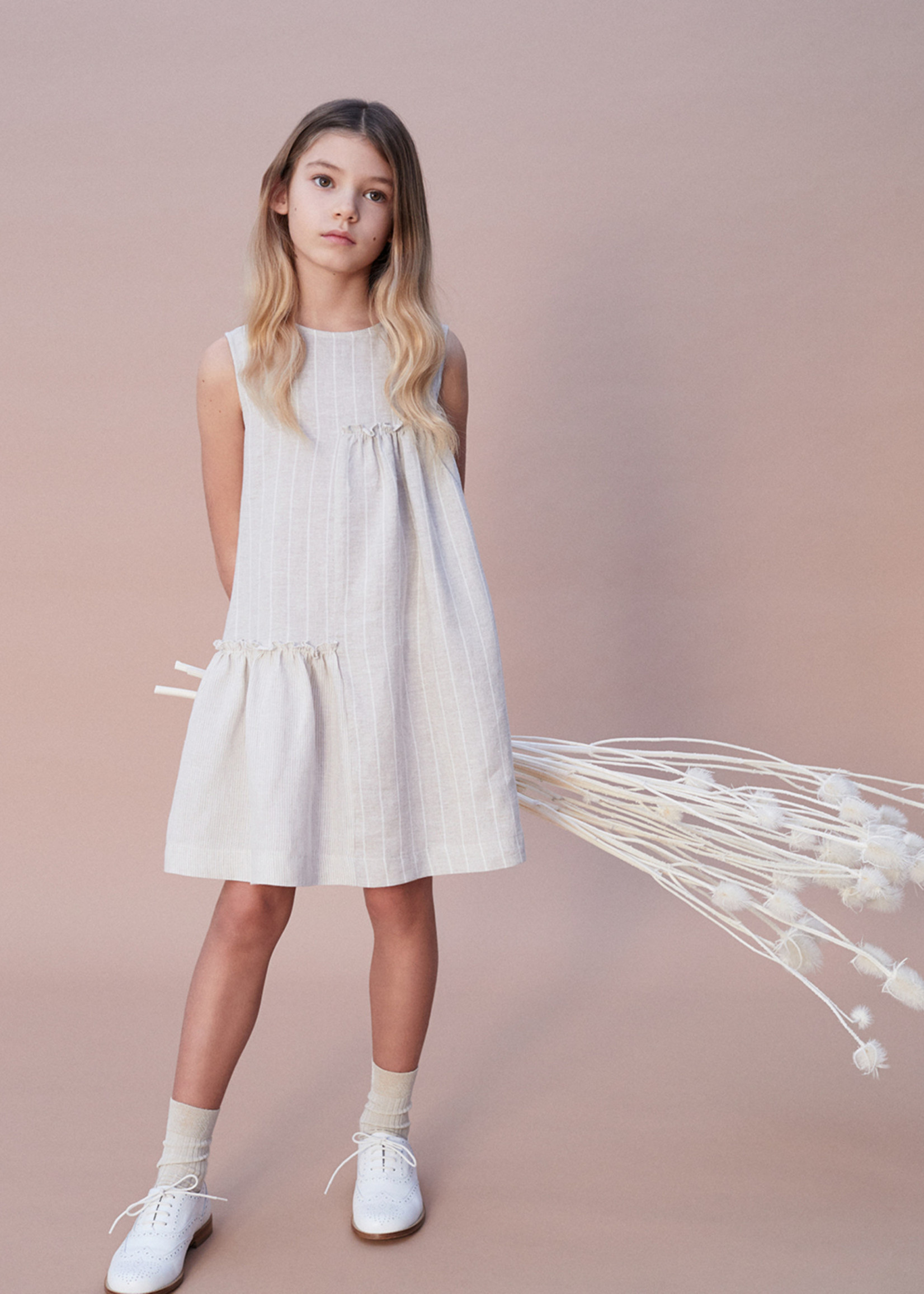 Il Gufo Il Gifo-ss21 SLEEVELESS LINEN DRESS WITH CONTRASTING PATCHES