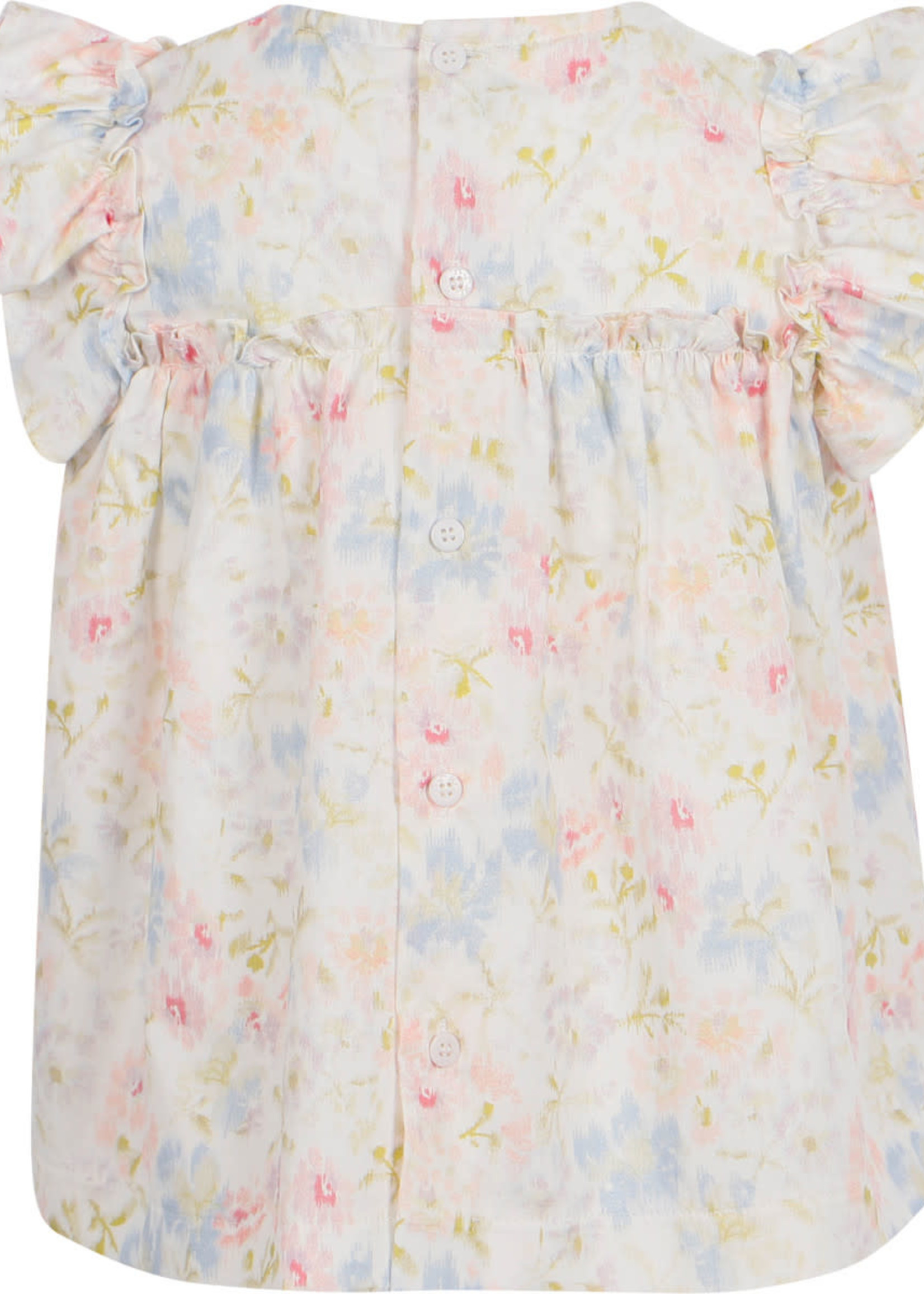 Il Gufo Il Gufo-ss21 Floral Dress Blouse and Shorts Set in White and Pink