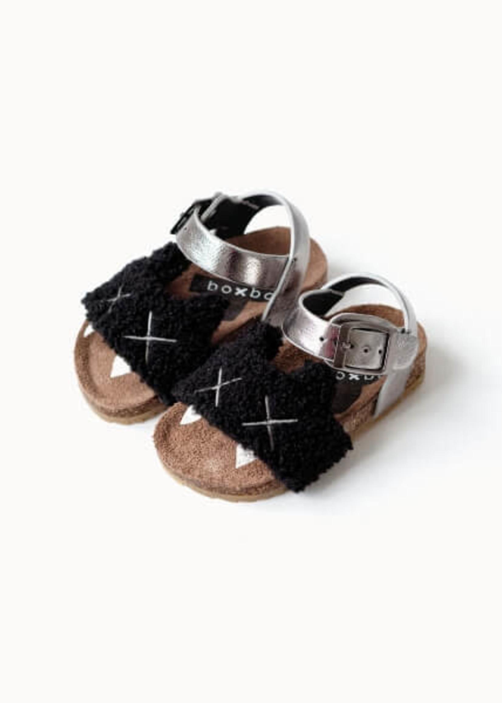 """Boxbo Boxbo-ss21 """"Canine"""" Black Kitten Cork Sandals Référence : SD2006"""