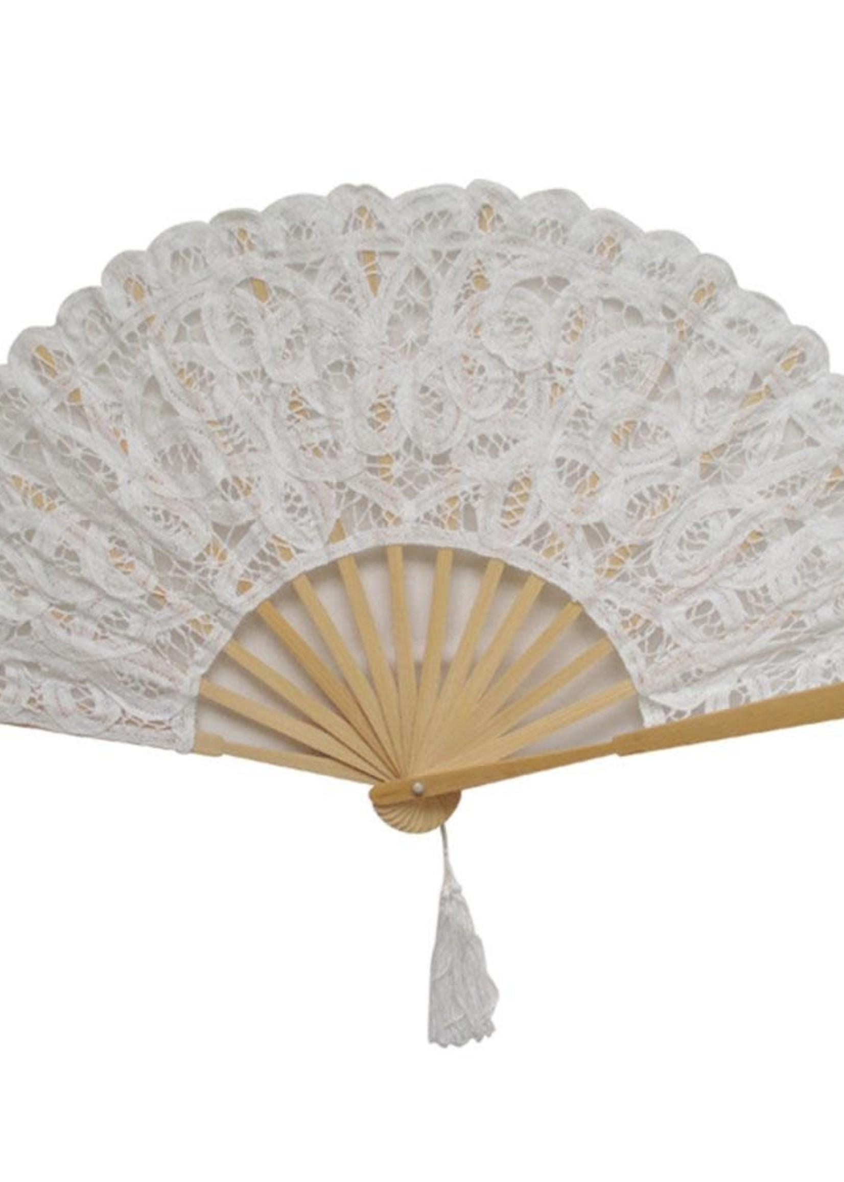 Powell Craft Powell Craft-ss21 WHITE LACE FAN WITH TASSEL 27CM