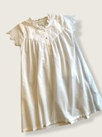 Powell Craft Powell Craft-ss21 IMOGEN WHITE EMB. FLOWERS CAPPED SLVS DRESS