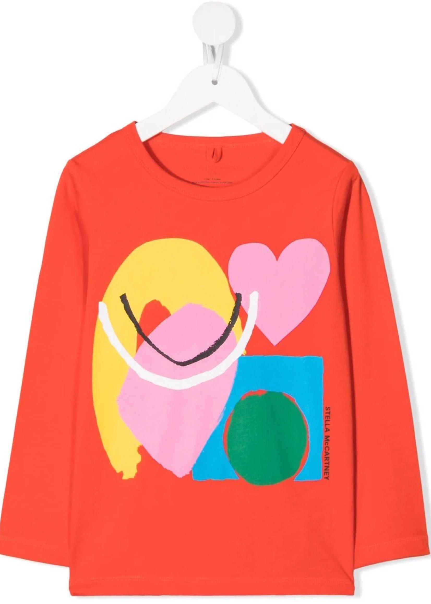 Stella McCartney Stella Mccartney-AW21 603012 Paint Heart-print long-sleeve T-shirt