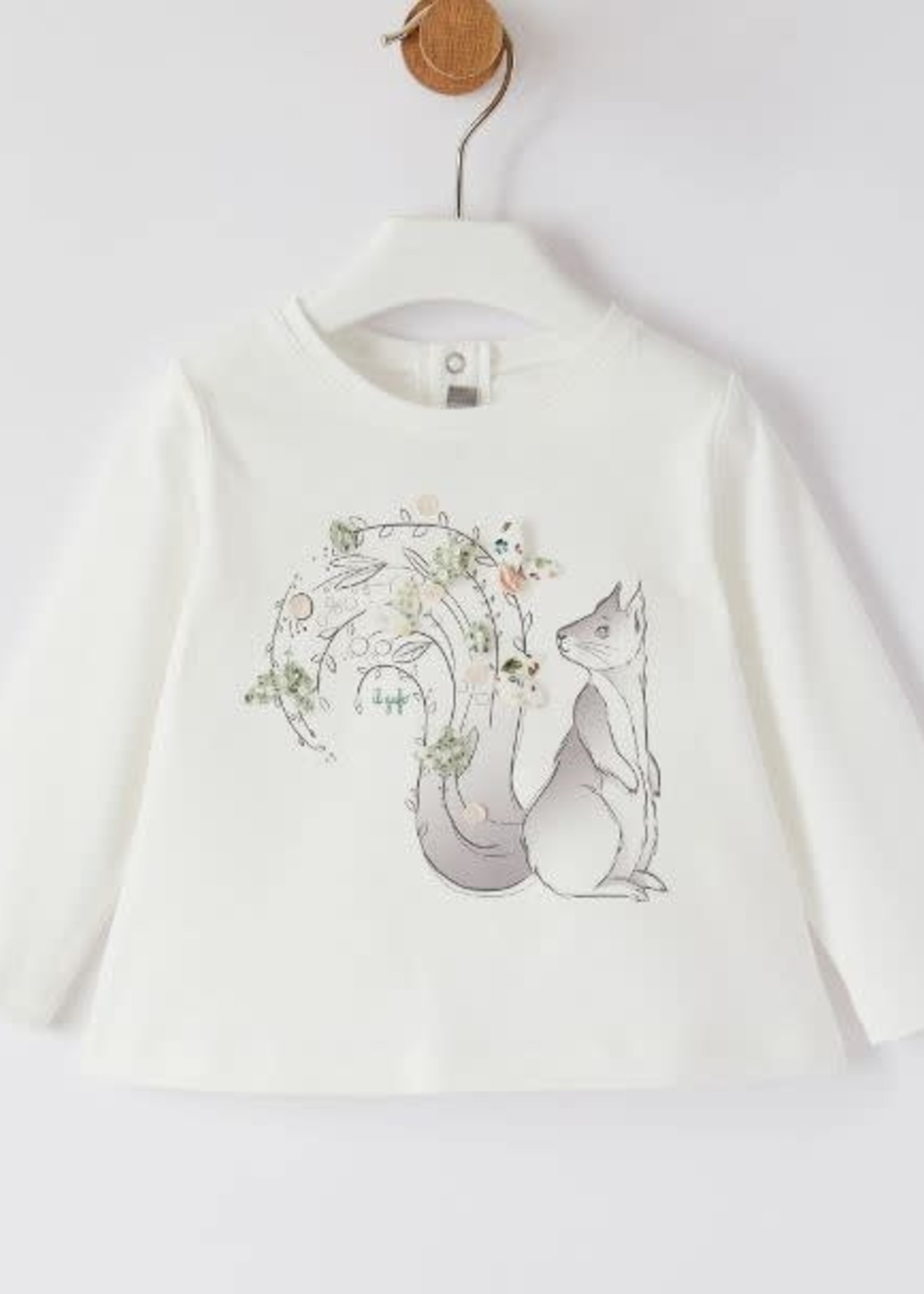 Il Gufo Il Gufo-AW21 GIRLS LS T-SHIRT W/SQUIRREL GRAPHIC AND DETAILING   A21 TA256