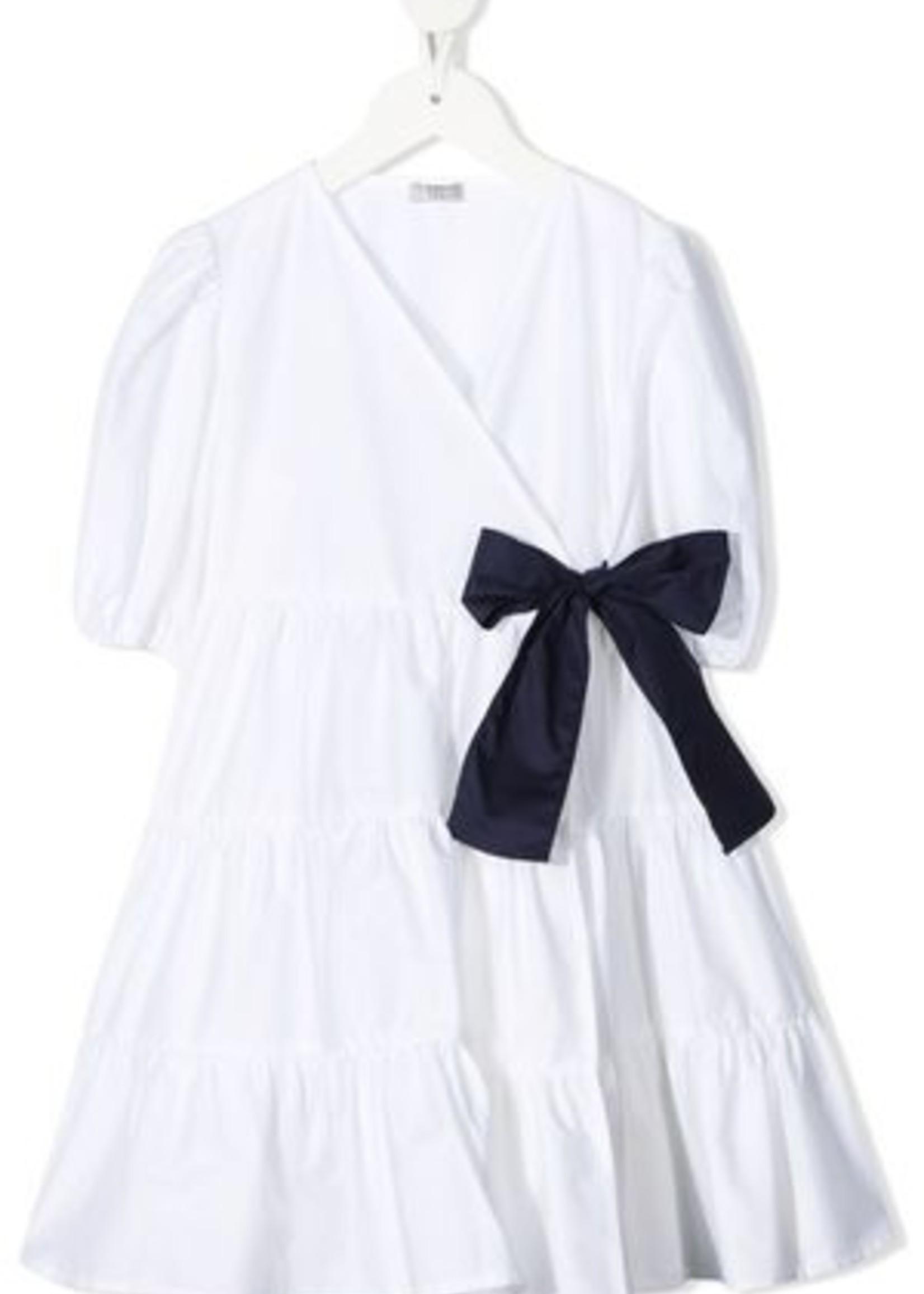 Il Gufo Il Gufo-ss21 SHORT SLEEVE DRESS WITH CROSSOVER CLOSURE