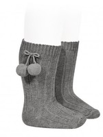 condor Condor Warm Cotton Rib Knee-High Socks with pompom
