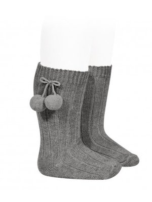 condor Condor Warm Cotton Rib Knee-High Socks with pompom