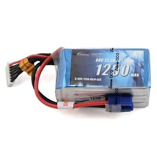 Gens Ace 1250mAh 22.2V 60C 6S1P Lipo Battery Pack with EC3 Plug