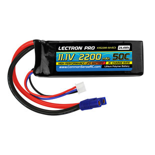 Lectron Pro 11.1V 2200mAh 50C Lipo Battery with EC3 Connector for the Blade 350 QX, 450, & Parkzone Planes
