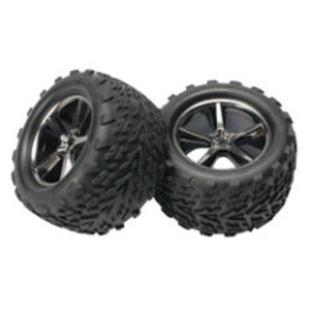 Gemini Black Chrome Wheel w/ Talon Tire (2):E-Revo (TRA5374A)