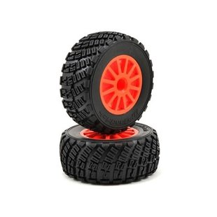 "7473A Tires & wheels, assembled, glued (orange wheels, BFGoodrich"" Rally, gravel pattern tires, foam inserts) (2) (TSM rated)"