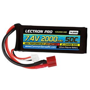 2S2000-50D Lectron Pro 7.4V 2000mAh 50C Lipo w/ Deans