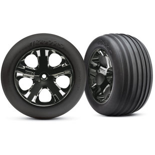 3771A Allstar Front Black Chrome Wheels with Tires (2)
