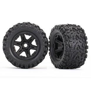 Tires & wheels, assembled, glued (black wheels, Talon EXT tires, foam inserts) (2) (17mm splined) (TSM rated)