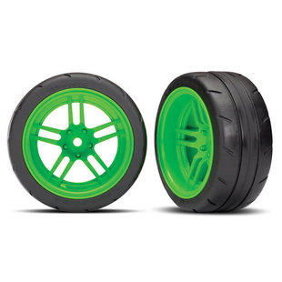 Tires and wheels, assembled, glued (split-spoke green wheels, 1.9' Response tires) (extra wide, rear) (2) (VXL rated)