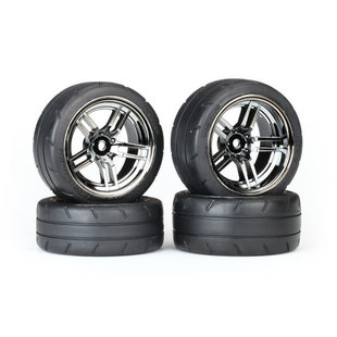 Tires & wheels, assembled, glued (split-spoke black chrome wheels, 1.9' Response tires, foam inserts) (front (2), rear (extra wide) (2)) (VXL rated)