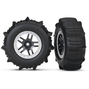 Tires & wheels, assembled, glued (SCT Split-Spoke satin chrome, beadlock style wheels, paddle tires, foam inserts) (2) (4WD front/rear, 2WD rear only) (TSM rated)