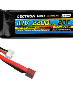 Lectron Pro™ 11.1V 2200mAh 20C Lipo Battery with Deans-type Connector for the T-Rex 450