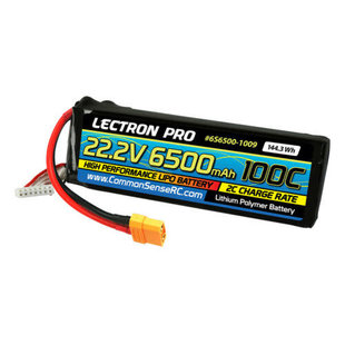 Lectron Pro™ 22.2V 6500mAh 100C Lipo Battery with XT90 Connector for Large Planes, Helis, Quads & 1/8 Trucks #6S6500-1009 $159.99