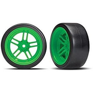 Traxxas 8377G Tires and wheels - assembled - glued (split-spoke green wheels
