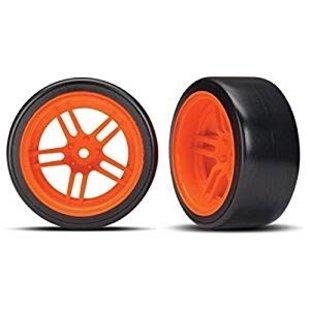 Traxxas 8377A Tires and wheels - assembled - glued (split-spoke orange wheels