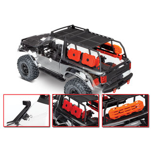 82010-4 - TRX-4® Sport Unassembled Kit: 4WD Electric Truck with clear body, expedition rack, and accessories. Radio system (transmitter, receiver, servo) and power system (ESC, motor) not included.
