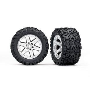 6773R - Tires & wheels, assembled, glued (2.8') (RXT satin chrome wheels, Talon Extreme tires, foam inserts) (2) (TSM rated)