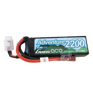 Gens Ace Adventure 2200mAh 3S1P 11.1V 50C Lipo Battery with Deans Plug for RC Crawler