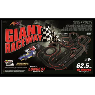 AFX Giant Raceway 62.5-Foot Mega G+ HO Slot Car Track Set w/Tri-Power Pack