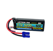 Lectron Pro 11.1V 5200mAh 50C Lipo Battery with EC5 Connector for 1/10 Scale Cars, Trucks, and Buggies