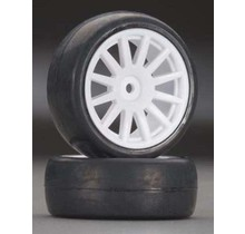 Tires & wheels, assembled, glued (12-spoke white wheels, slick tires) (2)