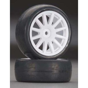 Tires & wheels, assembled, glued (12-spoke white wheels, slick tires) (2)