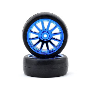 Tires & wheels, assembled, glued (12-spoke blue chrome wheels, slick tires) (2)