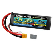 Lectron Pro 14.8V 5200mAh 50C Lipo Battery Hard Case with XT60 Connector + CSRC adapter for XT60 batteries to popular RC vehicles #4S5200-50HX