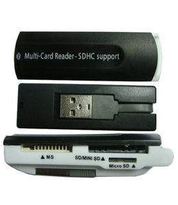 GlobalTone Lecteur de carte USB 2.0, SD, Mini SD, Micro SD, MS, Noir