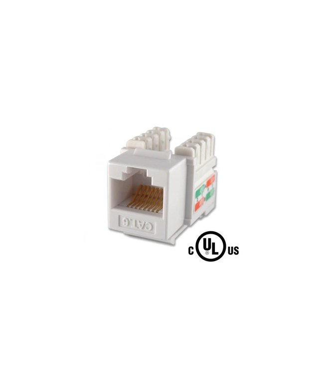 LinKit Security CAT.6 RJ45 keystone jack, 90 degree , 50u gold , 110 White, cULus certified
