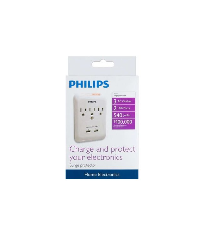 Philips Philips Panneau d'alimentation mural 540 joules + USB 2x 2.1Amp/10-Watt