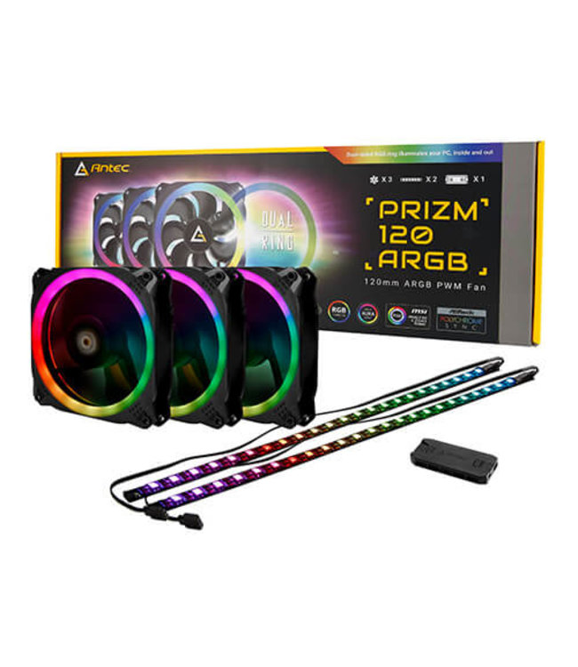 Antec Case Fan Antec Prizm 120MM ARGB x 3 + 2 LED strip + controller