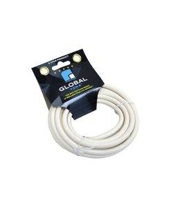 GlobalTone Câble coaxial RG6 3000mhz, Connecteur type F,18AWG,75Ohm,CL2, Blanc, 10 pi.