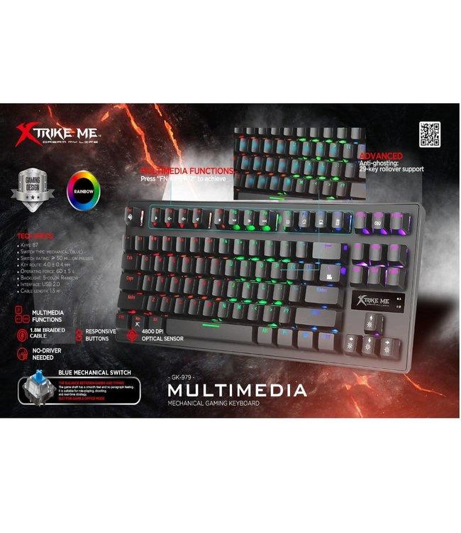 Xtrike ME Xtrike Me Clavier de jeu Illuminé multicolore GK-979, Mécanique, 87 touches, câble USB 1.5m GK-979