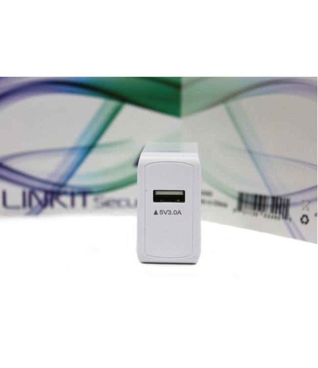 LinKit Security Chargeur mural 1 port USB, 5V, 3A, Blanc