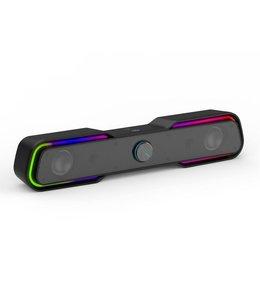 HP HP Barre de son USB Haut-parleurs multimédia avec son stéréo, rétro-éclairage RGB, (DHE-6002)