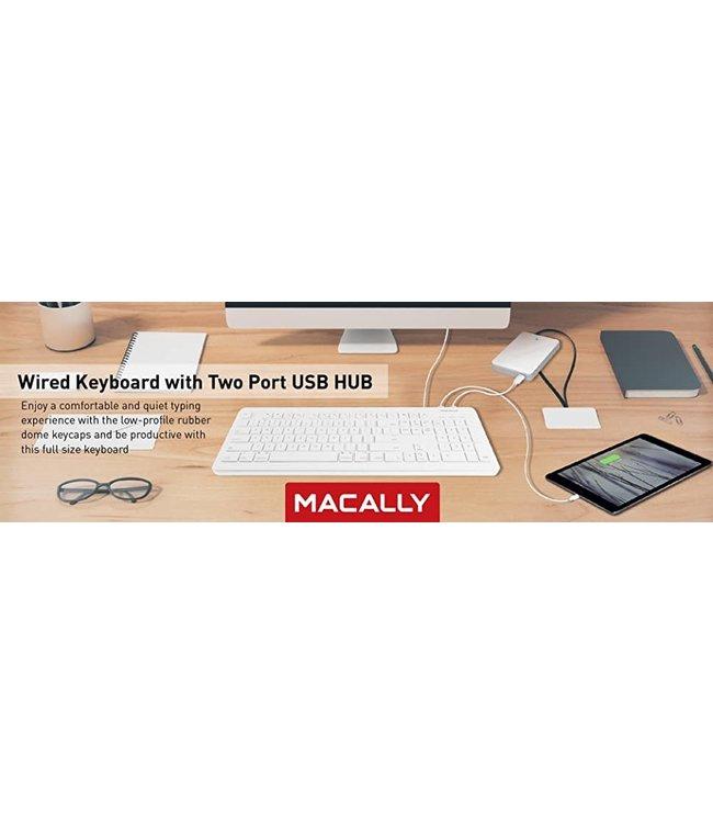 Clavier avec usb 2x  Blanc Macally USB pour mac/win MKEYXu2