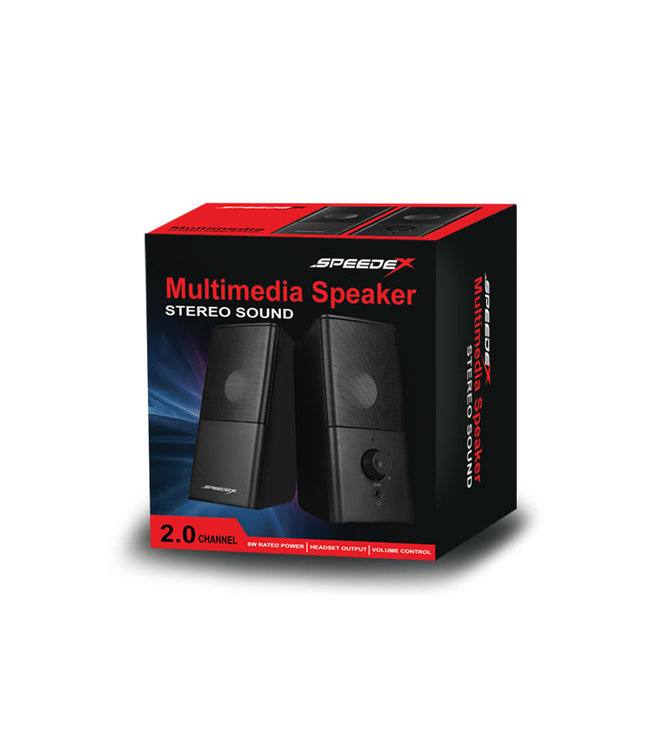 Speedex Multimedia 2.0 channel 6W stereo 3.5mm + USB powered with front headset output connector PC speaker