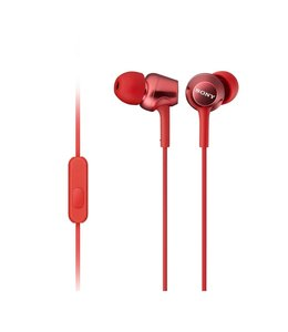Sony in-Ear Earbud Headphones with Remote Control & Microphone, Red