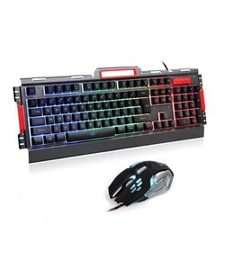 K33 Wired LED Rainbow Backlight Aluminum Alloy Panel Gaming keyboard with LED 3200DPI Gaming Mouse Combo set