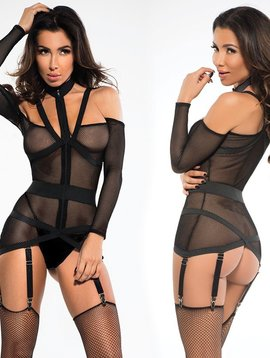 Adore Adore Chloe Fishnet Corselette with Garters