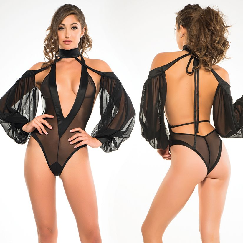 Adore Adore Tia Bodysuit with V-Neck & Sheer Sleeves