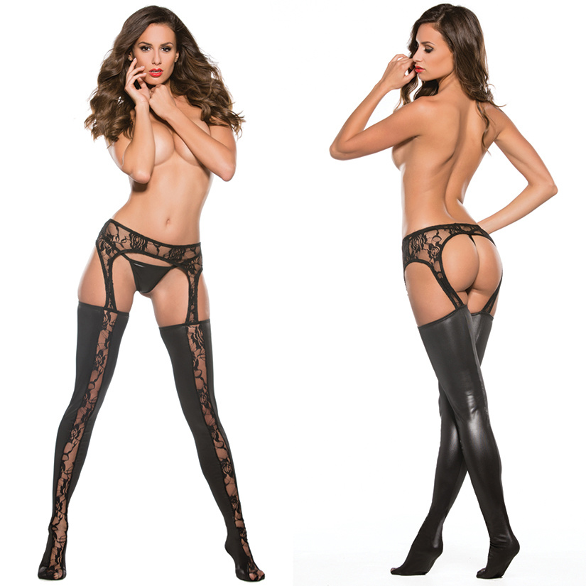 Allure Kitten Wet Look & Lace Garter Tights -Black O/S